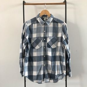 Blue and white plaid soft flannel shirt